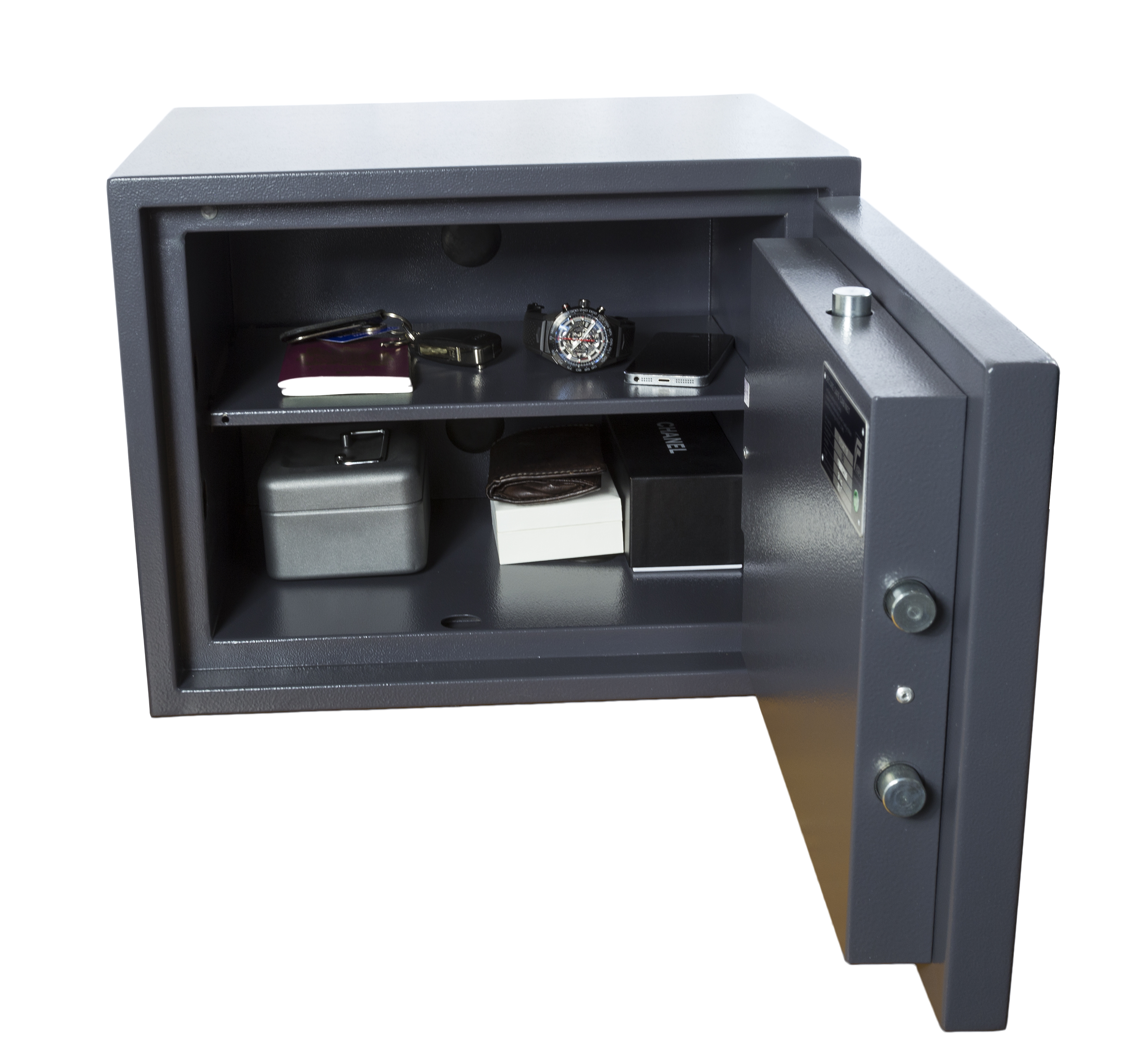 Image of open safe with valuables
